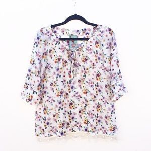 Johnny Was Silk Floral Peasant Blouse